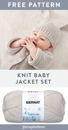 Free Knit Baby Jacket Set pattern using Bernat Baby Sport yarn. Knit this sweet coordinating hat and sweater set, topped with bunny ears for Easter. It's so soft and wears like a dream, you can make it as a thoughtful gift for any new mom. Baby Cardigan Knitting Pattern Free, Baby Boy Knitting Patterns, Baby Sweater Patterns, Baby Hats Knitting, Fall Knitting, Beanie Pattern, Knitted Baby Beanies, Knit Baby Sweaters, Baby Knits
