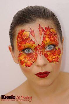 Stunning! www.sillyfarm.com Adult Face Painting, Body Painting, Fall Makeup, Makeup Art, Haloween Makeup, Silly Farm, Butterfly Face Paint, Face Painting Designs, Airbrush Art