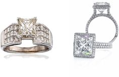"""""""Princess Cut Diamond Engagement Ring Before and After."""" Ring on the right is by Bez Ambar."""