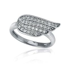 Sterling Silver 0.3 ct.tw Cubic Zirconia CZ Angel Wings Right Hand Ring by BERRICLE Available at joyfulcrown.com