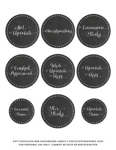 """FREE Hot Chocolate Bar Labels to go along with my free """"Baby it's Cold Outside"""" hot chocolate bar printable! UpcycledTreasures.com"""