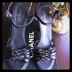 CHANEL  Authentic Stunning Chanel Satin Sandals. Worn once for a couple of hours. Size 8.5 runs small. So this would fit a 7.5 & 8. CHANEL Shoes Sandals