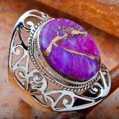 es que la cago lo bello!!!!!!!!! tengo amarillo y turquesa pero este lila hermoso need it! // Purple Copper Turquoise Ring