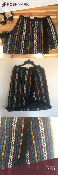 Vintage fringe Skirt Vintage wrap skirt. So so cute. Says it's a 10 but it's vintage so it would be more like 6/8. It's really high quality. Skirts