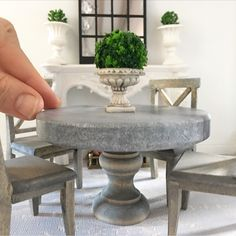 Miniature marble and oak tables back in stock