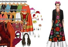 Ao invés de trazer para seus quadros a vida cheia de caminho sinuosos, Frida Kahlo preferiu traduzi-la em muitas cores, colorido que também fez parte do seu estilo. Sempre presente no seu guarda-roupa, a mistura de cores, flores, bordados e aplicações, lenços e acessórios para os cabelos, às vezes em um mesmo look, já inspirou muitos estilistas por aí, e encantam os olhos de quem vê.