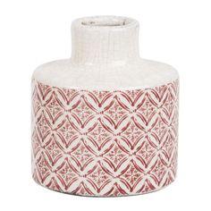 Vase en céramique blanche motifs rouges H11