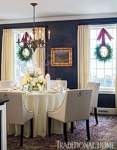This beautiful stone cottage in South Burlington, Vermont features Scandinavian-inspired Christmas decor throughout it's interiors. Dining Nook, Dining Room Walls, Living Room, Home Decor Items, Diy Home Decor, Traditional Home Magazine, Contemporary Home Decor, Old House Dreams, Creative Home