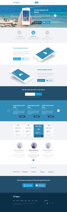 Landing page mockup for ios/android app