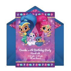 We are loving this free Shimmer and Shine invitation design. It's great for a girl's birthday party. Easily personalize and send via email for a memorable gathering with family and friends!