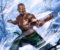 m Monk mountains hills forest snow winter Togashi Noritada, tattooed monk of the Dragon Clan from Legend of the Five Rings Fantasy Warrior, Fantasy Rpg, Medieval Fantasy, Fantasy Artwork, Dark Fantasy, Fantasy Character Design, Character Concept, Character Art, Concept Art