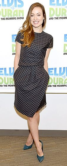 The new mom promoted her next film, The Lazarus Effect, in a gingham dress and teal heels.