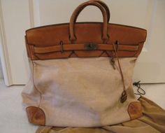 AUTH. 1971 VINTAGE HERMES 50CM CANVAS AND LEATHER W/ BRASS HARDWARE TRAVEL BAG   eBay