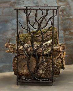 hand forged firewood rack