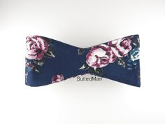 Floral Bow Tie, Navy Lavender Rose, Flat End – SuitedMan