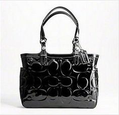 Coach Patent Embossed Tote Black Handbag � Coach 16564