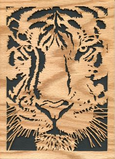 Tiger scroll saw Laser Cutter Projects, Arte Tribal, Animal Symbolism, Cut Animals, Wood Carving Designs, Wood Burning Patterns, Flower Embroidery Designs, Animal Silhouette, Scroll Saw Patterns