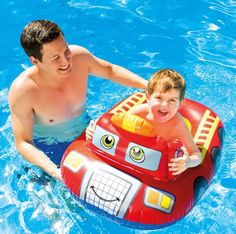 """Intex 59380EP The Wet Set Inflatable Pool Cruiser - Random design The Intex Pool Cruiser Pool Float measures 42""""L x 27""""W (107cm x 69cm). This kids pool float is suitable for children ages 3-6 years old or 50 Lb. (23kg) maximum weight. Fish, race car or pirate ship design chosen at random Constructed of 8ga (0.20mm) vinyl plastic material that is certified phthalate-free. Smooth seams, sturdy construction and bright colors make this pool float a fun way to ride summer waves. Includes..."""