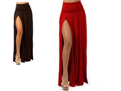 SEXY BLACK RED HIGH WAIST DOUBLE SLIT FRONT RAYON JERSEY LONG MAXI SKIRT S M L #LAFashions #Maxi