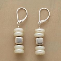 """PEARL CAIRN EARRINGS--Like stones piled to mark a path, cultured pearl disks stacked with squared beads of sterling silver. Sundance exclusive. Handcrafted in USA with lever back wires. 1-1/2""""L."""