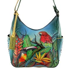 ANUSCHKA hand painted leather shoulder bag: Amazon.co.uk: Shoes ...