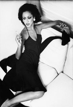 Supermodel Pat Cleveland wearing Halston