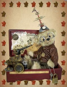 this steampunk bear is now available at the bright star online show go to my website: www.marthasbears.com and click the link