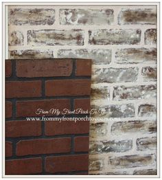Faux Brick Wall Tutorial Using Chalk Paint I might be able to use this for my backsplash. DIY Faux Brick Wall Tutorial- From My Front Porch To YoursI might be able to use this for my backsplash. DIY Faux Brick Wall Tutorial- From My Front Porch To Yours Faux Brick Wall Panels, Brick Wall Paneling, Stone Panels, Paneling Painted, Paint Brick, Fake Brick Walls, Faux Wall Finishes, Painted Brick Walls, Faux Panels