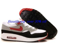 san francisco f99b7 9d18d com for nikes OFF - Mens Nike Air Max 1 White Varsity Red Medium Grey Shoes