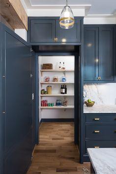 Hidden pantry behind a cabinet door