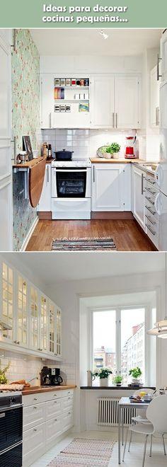 Ideas para decorar cocinas pequeñas. Departamentos pequeños. Cocinas de viviendas pequeñas. #cocinaspequeñas #departamentospequeños