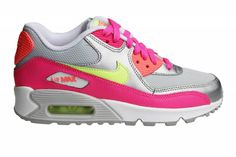 wholesale dealer d4f7d 68789 Nike Air Max 90 Mesh (GS) sneakers voor dames en meisjes. Zomerse  kleurencombinatie met de kleuren roze, geel, oranje, grijs, zilver en wit.