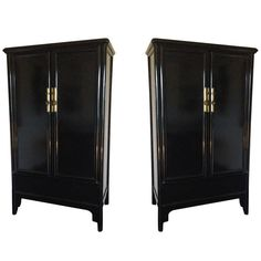 Pair of Black Lacquered Cabinets | From a unique collection of antique and modern cupboards at https://www.1stdibs.com/furniture/storage-case-pieces/cupboards/