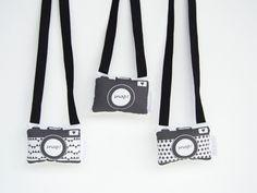 Boo & Bear - Black & white plush fabric camera toy - Monochrome nursery, monochrome room, monochrome decor, monochrome children's interior