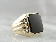 Classic MidCentury Mens Black Onyx Signet Ring in by MSJewelers, $1145.00