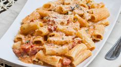 Rigatoni in Blush Sauce with Chicken and Bacon - delicious creamy and cheesy pasta, dinner in 30 minutes.