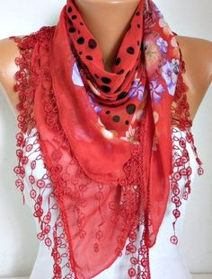 Spring Celebrations Red Floral Scarf Mother's Day Gift by anils