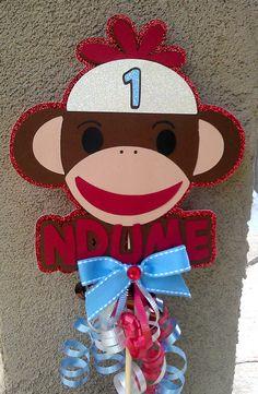 sock monkey cake topper. $8.00, via Etsy.