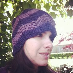 Purple Chevron Slouchy Beanie Hat by OakStreetKnits on Etsy, $30.00