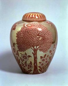 Pre Raphaelite Art: William de Morgan - Gold-ground lustre vase and cover painted with birds, trees and flowers, Fulham period, 1888-1898