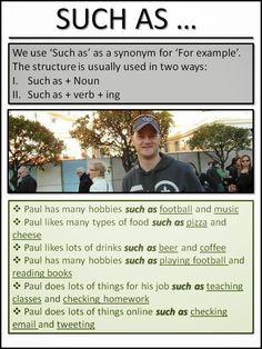 Such as #esl #tefl #learnenglish