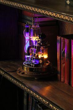 Steampunk lamp Benjamin. desk lamp steampunk style on a stand | Etsy Steampunk Desk, Steampunk Fashion, Power Wire, Copper And Brass, Glass Domes, Lamp Design, Natural Oils, Desk Lamp, Bulb