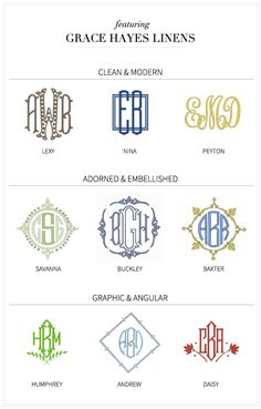 Several fine examples of monograms. The single initial monogram middle, left, is intriguing.