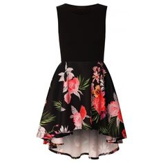 Linda Black Floral Asymmetric High Low Wide Flared Sleeveless Skater... ($1.42) ❤ liked on Polyvore featuring dresses, night out dresses, skater dress, hi low dress, high low dresses and sleeveless dress