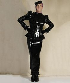 Black PVC Two-Piece Hobble Outfit - Wicked Waists