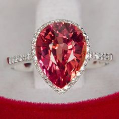 http://rubies.work/0998-sapphire-ring/ 4.30CT Pear Cut Pink Padparadscha Sapphire Round Diamond Cut White Sapphire Promise Engagement Anniversary Ring Size 6.75 by JoyofLondon on Etsy