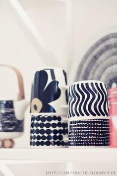 marimekko Kitchenware, Tableware, Black And White Design, Marimekko, Scandinavian Design, Interior Decorating, Sweet Home, Objects, Ceramics