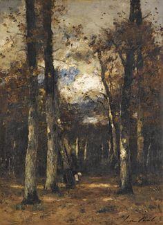 laclefdescoeurs: Forest at Fontainebleau, László Paál Subic, European Paintings, Western Art, Landscape Paintings, 19th Century, Modern Art, Cool Art, Nature, Auction