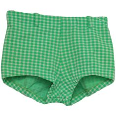 60's Care Label Shorts: 60s -Care Label- Womens green and off white... (465 MXN) ❤ liked on Polyvore featuring shorts, bottoms, short, pants, green skinny belt, nylon shorts, thin belt, green shorts and care label