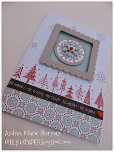 CTMH Snowhaven Spin Card with CTMH Art Philosophy accents.  Details available on GIRLplusPAPER.blogspot.com